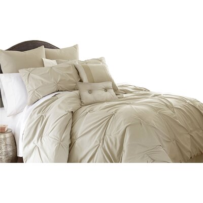 Ella 8 Piece Comforter Set Size: King, Color: Sand