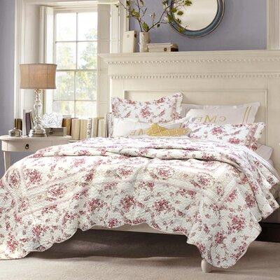 Giroflee Shabby Elegance Vintage Rose Quilt Set Size: Twin