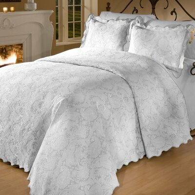 Groseiller Matelasse Bedspread Set Color: White, Size: Full