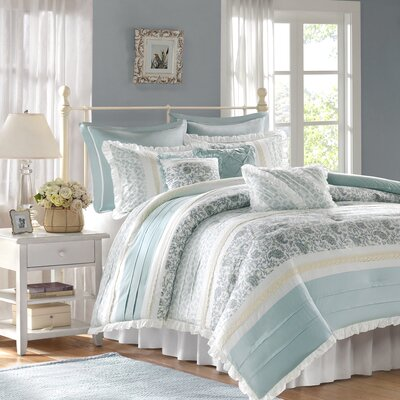 Chambery 180 Thread Count 100% Cotton Comforter Set Size: Queen, Color: Light Blue