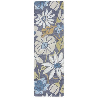 Soline Hand-Tufted Charcoal/Blue Area Rug Rug Size: 10 x 14
