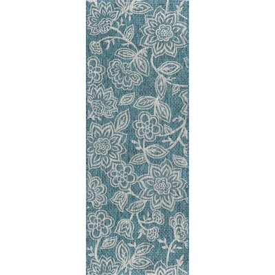Stephane Transitional Aqua Indoor/Outdoor Area Rug Rug Size: Runner 2'7