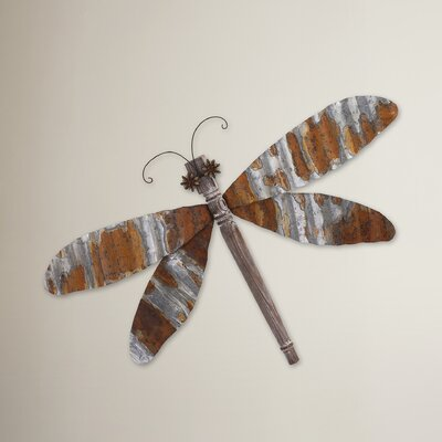 Brown Dragonfly Corrugated Wall Décor