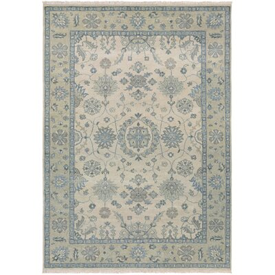 Arras Hand-Knotted Beige/Green Area Rug Rug Size: Rectangle 56 x 89