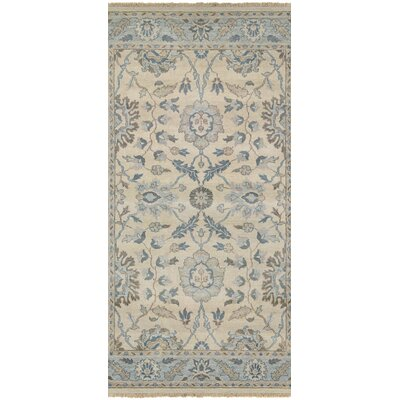 Arras Hand-Knotted Beige/Blue Area Rug Rug Size: Rectangle 56 x 89