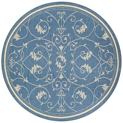 Miley Blue Indoor/Outdoor Area Rug Rug Size: Round 76