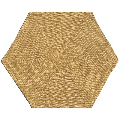 Ephemerine Natural Hand-Woven Gold Area Rug Rug Size: Hexagon 8