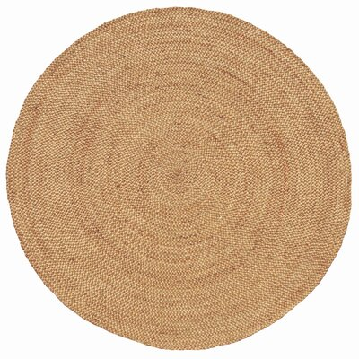 Ephemerine Natural Hand-Woven Gold Area Rug Rug Size: Round 6