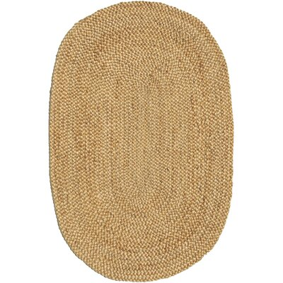 Ephemerine Natural Hand-Woven Gold Area Rug Rug Size: Oval 66 x 8