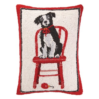 Elvera Farm House Dog Hook Wool Throw Pillow
