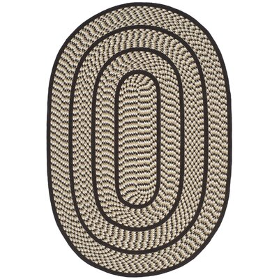 Georgina Ivory/Dark Brown Area Rug Rug Size: Oval 3 x 5