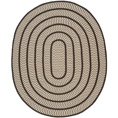 Georgina Ivory/Dark Brown Area Rug Rug Size: Oval 5 x 8