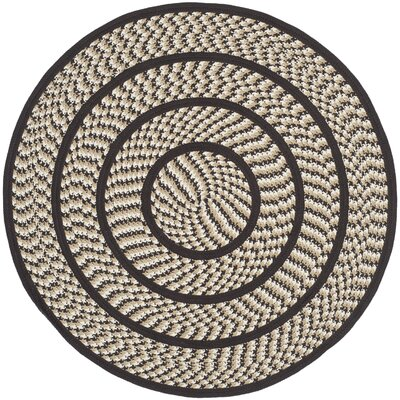 Georgina Ivory/Dark Brown Area Rug Rug Size: Round 4