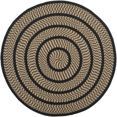 Georgina Contemporary Beige/Black Area Rug Rug Size: Round 6
