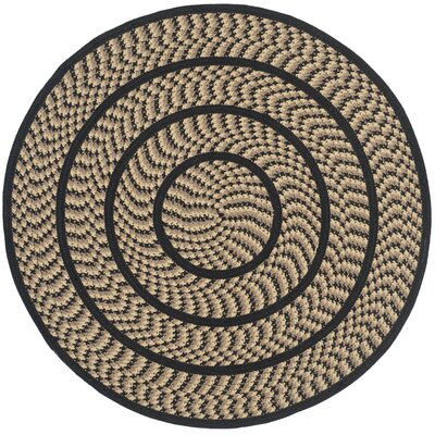 Georgina Contemporary Beige/Black Area Rug Rug Size: Round 4