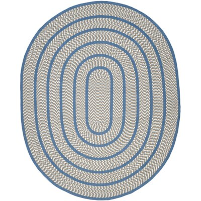 Georgina Contemporary Ivory/Blue Area Rug Rug Size: Oval 8 x 10