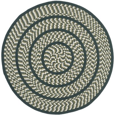 Georgina Ivory/Dark Green Contemporary Area Rug Rug Size: Round 4