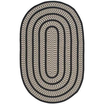 Georgina Ivory/Black Contemporary Area Rug Rug Size: Oval 5 x 8