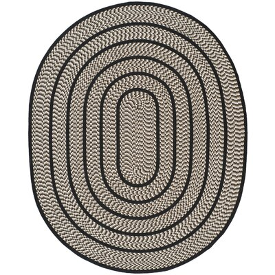 Georgina Ivory/Black Contemporary Area Rug Rug Size: Oval 8 x 10