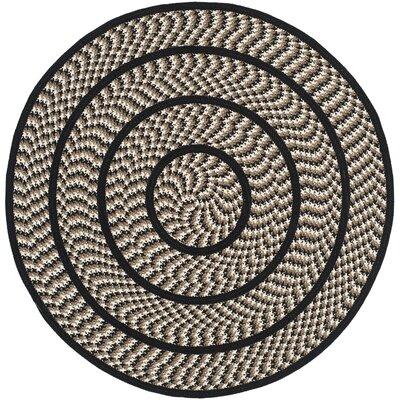 Georgina Ivory/Black Contemporary Area Rug Rug Size: Round 4