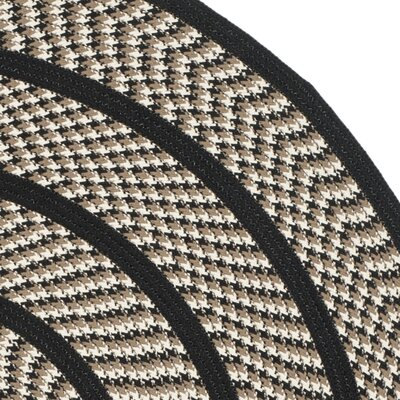 Georgina Ivory/Black Contemporary Area Rug Rug Size: Round 6