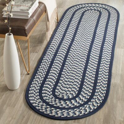 Georgina Ivory/Navy Contemporary Area Rug Rug Size: Round 6