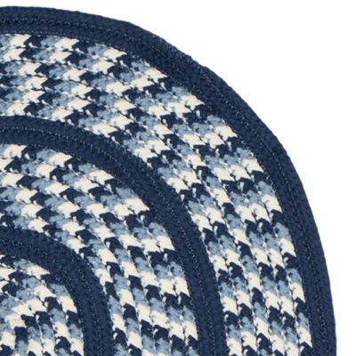 Georgina Ivory/Navy Contemporary Area Rug Rug Size: Oval 26 x 4