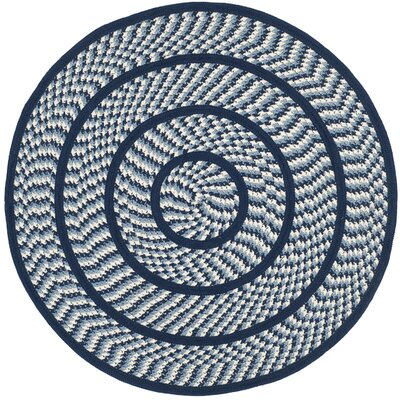 Georgina Ivory/Navy Contemporary Area Rug Rug Size: Round 4