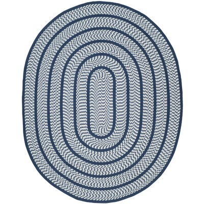 Georgina Ivory/Navy Contemporary Area Rug Rug Size: Oval 8 x 10