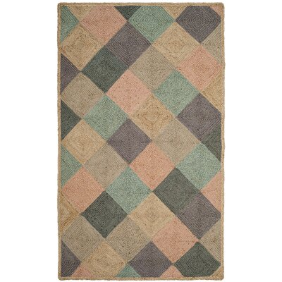 Gigi Hand-Woven Natural/Green/Gray Area Rug Rug Size: 5 x 8