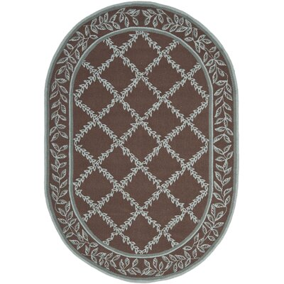 Kinchen Sage/Brown Area Rug Rug Size: Oval 46 x 66