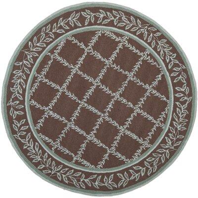Kinchen Sage/Brown Area Rug Rug Size: Round 8