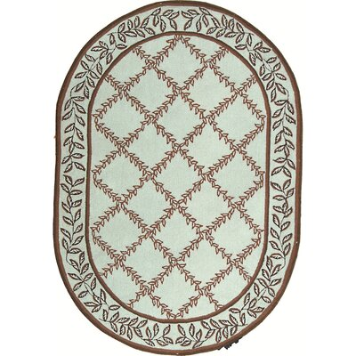 Kinchen Brown/Light Green Area Rug Rug Size: Oval 76 x 96
