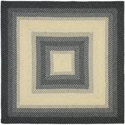Georgina Hand-Woven Black/Grey Area Rug Rug Size: Square 8