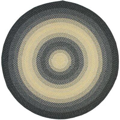 Georgina Black/Grey Area Rug Rug Size: Round 6
