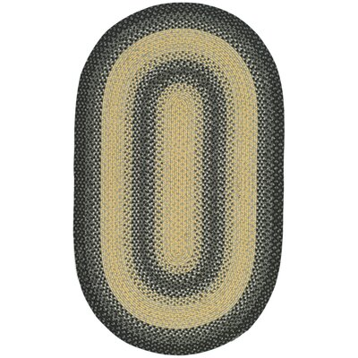 Georgina Hand-Woven Black/Grey Area Rug Rug Size: Oval 9 x 12