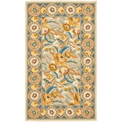 Isabella Yellow / Ivory Area Rug Rug Size: 53 x 83