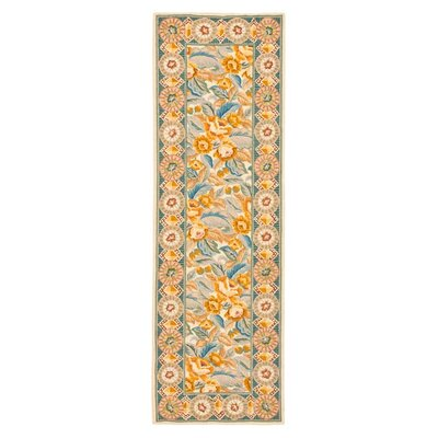 Kinchen Yellow/Ivory Area Rug Rug Size: Runner 26 x 10