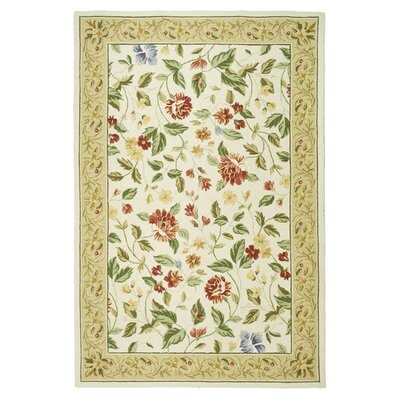 Isabella Ivory Floral Area Rug Rug Size: Oval 76 x 96
