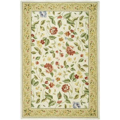 Isabella Ivory Floral Area Rug Rug Size: 53 x 83