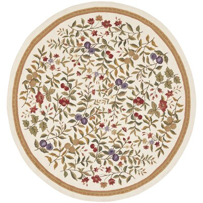 Kinchen Hand-Hooked Wool Ivory/Sage Area Rug Rug Size: Round 3