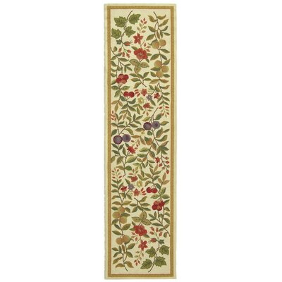 Kinchen Hand-Hooked Wool Ivory/Sage Area Rug Rug Size: Runner 26 x 8