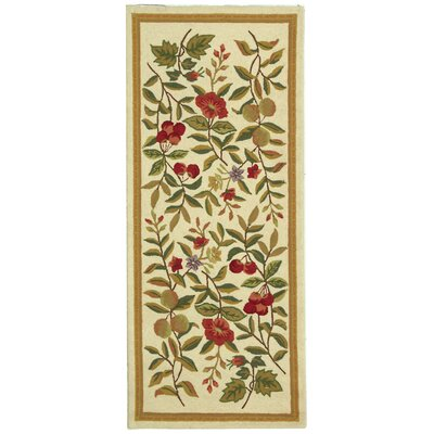 Kinchen Hand-Hooked Wool Ivory/Sage Area Rug Rug Size: Runner 26 x 6