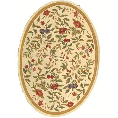 Kinchen Hand-Hooked Wool Ivory/Sage Area Rug Rug Size: Oval 76 x 96