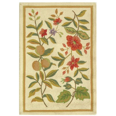 Kinchen Hand-Hooked Wool Ivory/Sage Area Rug Rug Size: Rectangle 79 x 99