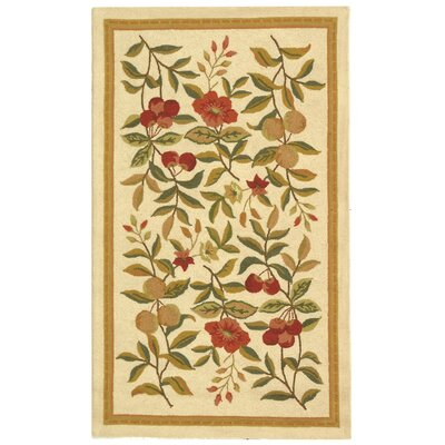 Kinchen Hand-Hooked Wool Ivory/Sage Area Rug Rug Size: Rectangle 29 x 49