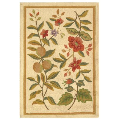Kinchen Hand-Hooked Wool Ivory/Sage Area Rug Rug Size: Rectangle 18 x 26