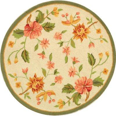 Kinchen Beige Floral Rug Rug Size: Round 4