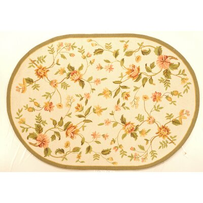 Isabella All Over Beige Floral Rug Rug Size: Oval 46 x 66