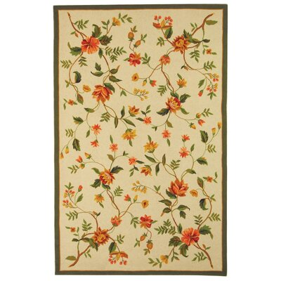 Kinchen Beige Floral Rug Rug Size: Rectangle 18 x 26